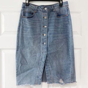 Wild Fable Slightly Distressed Denim Midi Skirt